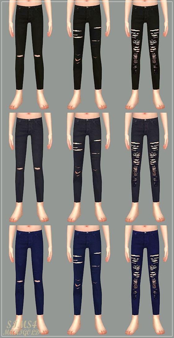 Child_Ripped Jeans & Leggings_unisex_찢어진 청바지와 레깅스_어린이 남녀 ...