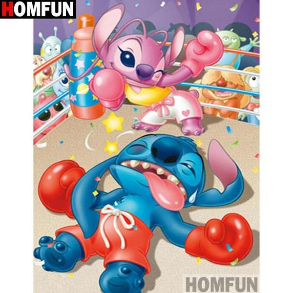 5d Diamond Painting Stitch And Angel Knock Out Punch Kit Stitch And Angel Lilo And Stitch Cute Disney Wallpaper