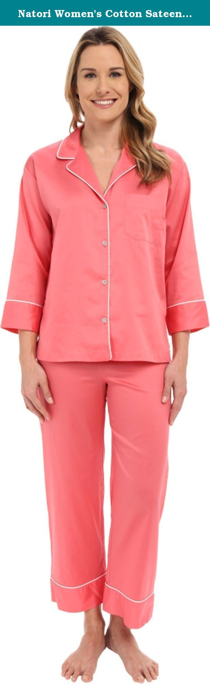 Natori Women's Cotton Sateen PJ Daiquiry Pink Pajama Set M (Women's 10-12). Silky smooth sateen PJ set flaunts contrast piping throughout. Notched lapel collar. Long sleeves with cuffs. Single left chest pocket. Full button front closure. Sleep shirt features a straight hem. Drawstring at waistline. Piping detail at ankle cuffs. 100% cotton. Machine wash cold, tumble dry low. Made in the.