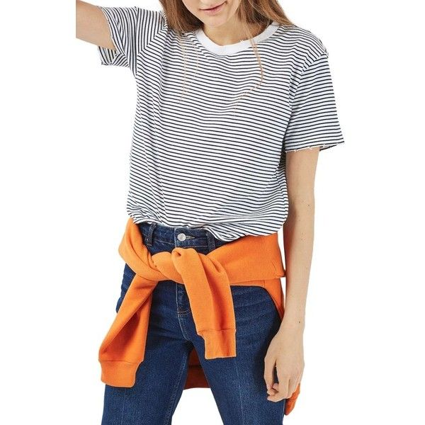 Petite Women's Topshop Nibbled Breton Stripe Tee ($28) ❤ liked on Polyvore featuring tops, t-shirts, navy blue, petite, breton top, striped top, breton striped tee, petite tee and breton striped top
