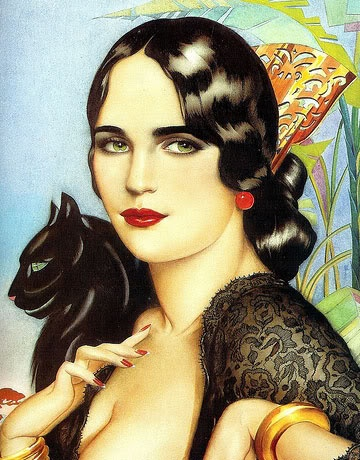 Art deco beatiful lady with green eyes. with black cat. a 4 print