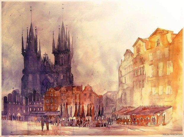 Акварельный города польской художницы Майи Вронской
