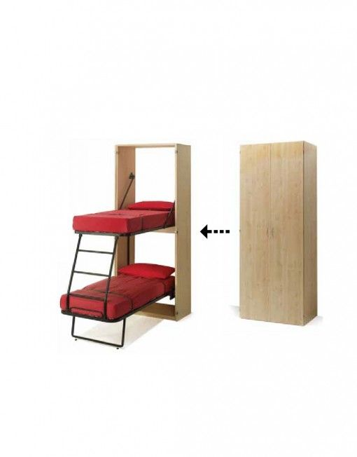 save space with a vertical murphy bunk bed that hides in a cabinet in what looks seemingly like a cabinet 2 single bunk beds are revealed with a built in