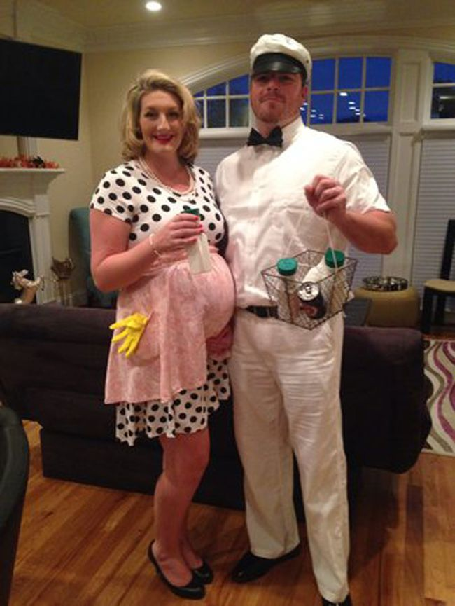 housewife and milkman costume during pregnancy if im ever pregnant during halloween - Pregnant Halloween Couples Costumes