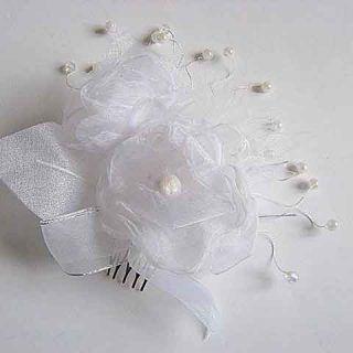Pieptene nunta organza si perle artificiale