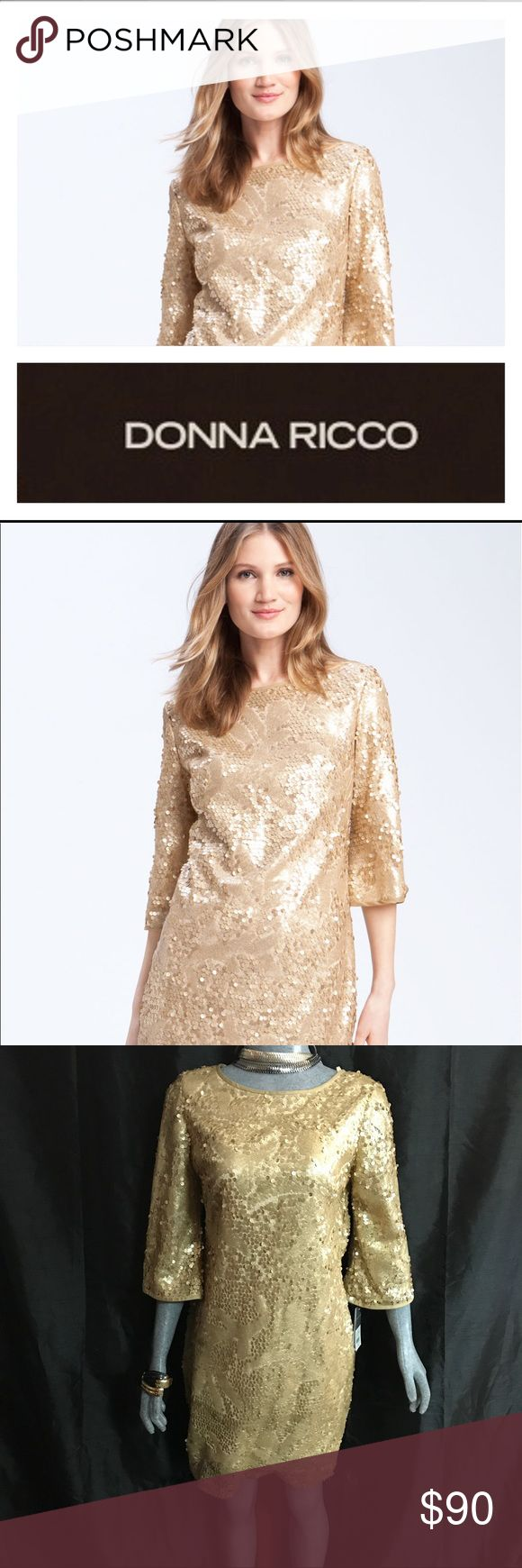 ❤️👠 New DONNA RICCO SEQUIN GOLD DRESS 👠❤️ ❤️Selling a Gorgeous Top of the Line Gold Donna Ricco Sequin Dress❤️ Bought for $158 at Nordstrom ❤️ This is a Top Dollar Dress .. Mrs Obama..wore plenty  Ricco Dresses ❤️ Looks flawless ❤️ Worth Every Penny ❤️ Donna Ricco Dresses
