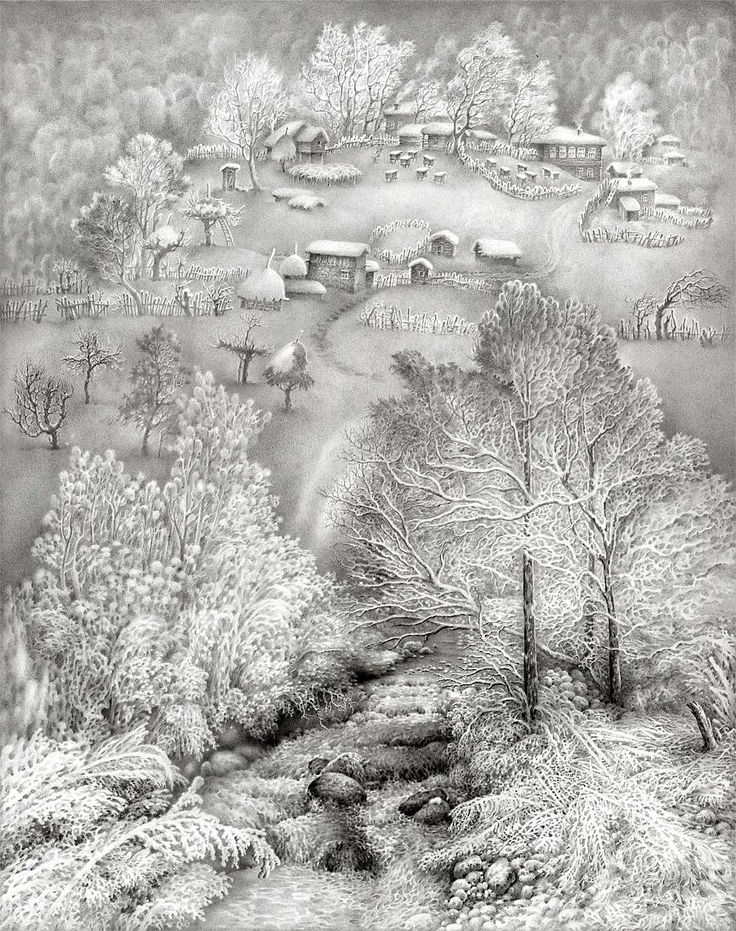 Красивые картинки зимы карандашом