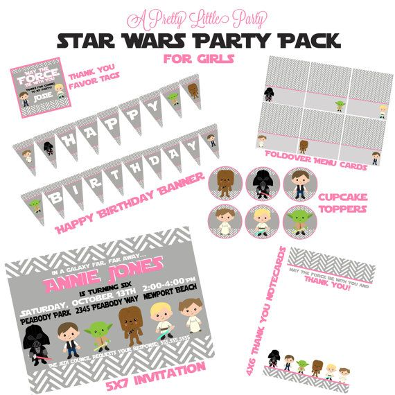 Star Wars Custom Birthday Party Pack for Girls - Star Wars Party Invitation - Party Supplies on Etsy, $30.00