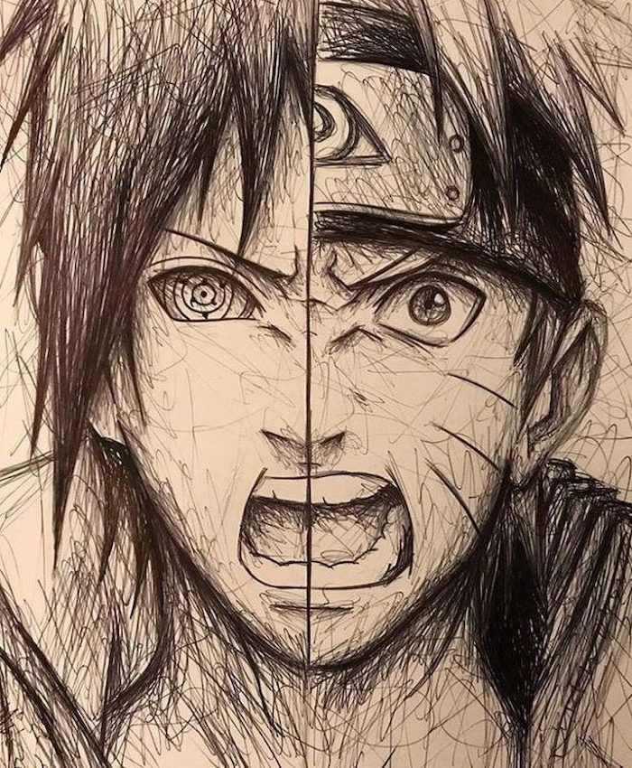 Split Drawing Anime Characters Anime Boy Drawing Black And Whtie Pencil Sketch In 2020 Naruto Sketch Naruto Drawings Naruto Uzumaki