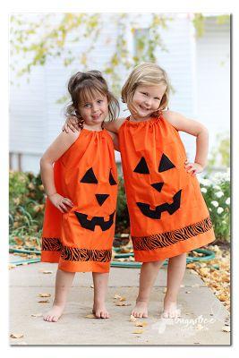 make your own super cute, super easy Pillowcase Pumpkin Dress