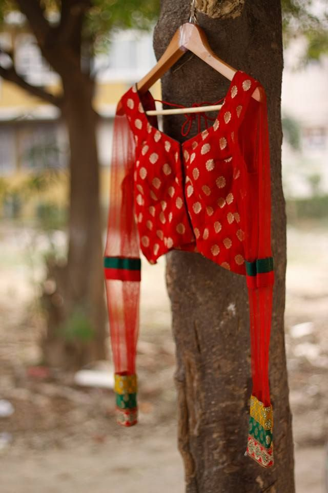 CR1311260 - Red Chanderi georgette blouse with 18 inches mesh sleaves.