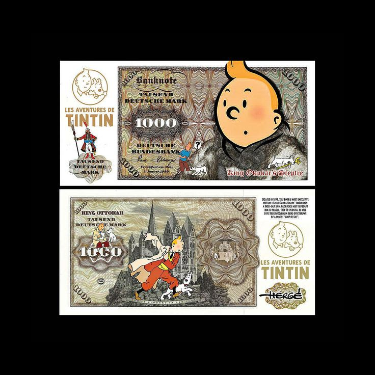 TinTin King Ottokar Novelty Notes Set of 2 Fun Deutsche Mark Bills