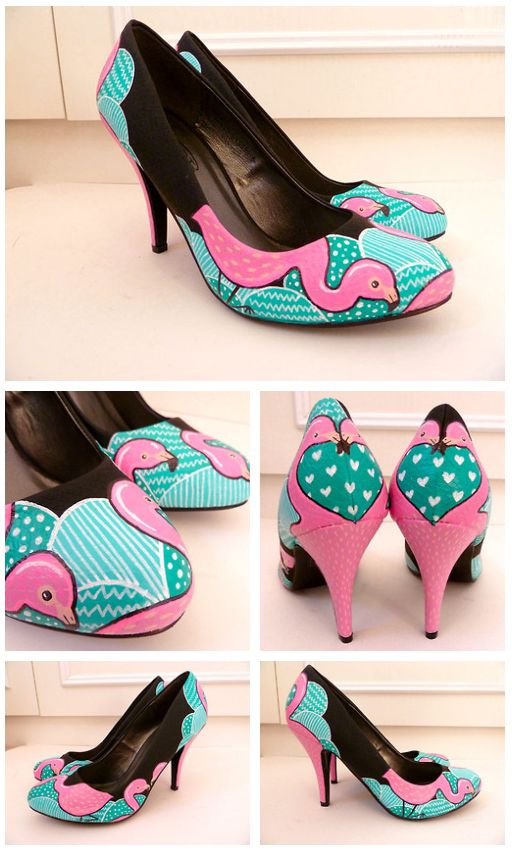 Flamingo Shoes DIY.  lol i seen these and instantly thought of marie.
