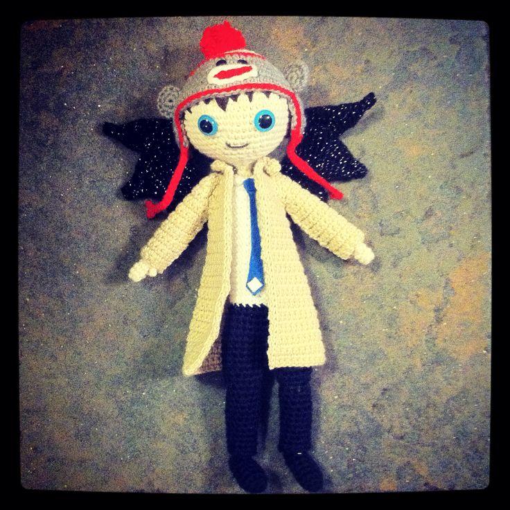Crocheted Castiel, Misha Collins, Supernatural, Crochet, Monkey Hat