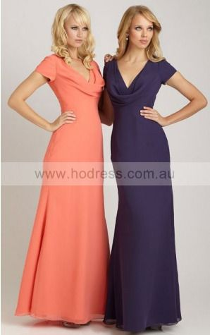 Chiffon Cowl Natural Sheath Floor-length Bridesmaid Dresses 0740333--Hodress