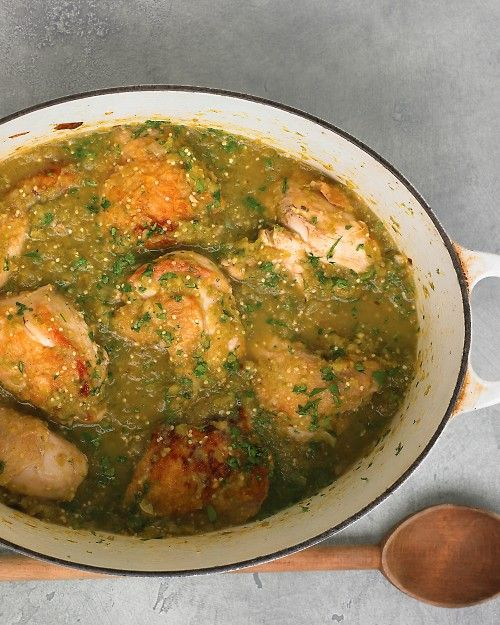 Tomatillo Chicken - Martha Stewart Recipes.  Perfect for using up some green tomatoes... and nursing a   cold!