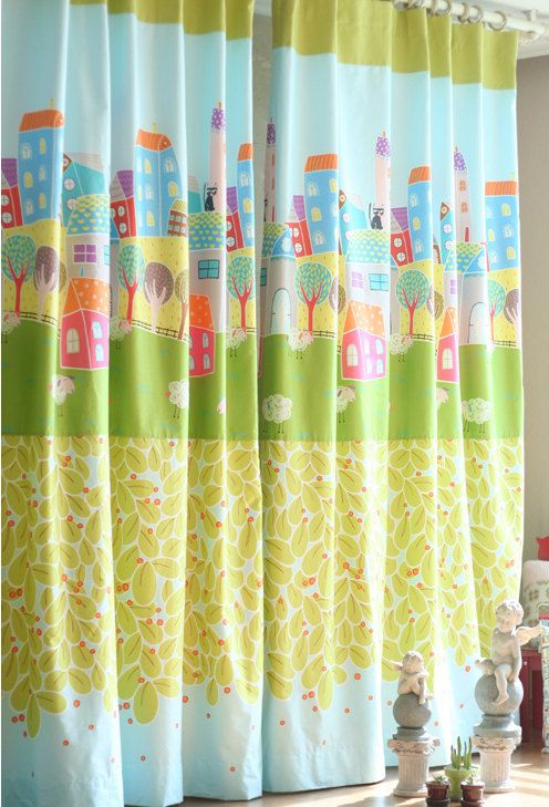 [ D E S C R I P T I O N ]  Gender Neutral Nursery and Kids Curtains, Kids Panels, Kidsroom Curtain, Children Curtain, Nursery and Baby Curtains, Green Cotton Curtains  For sale is a pair of beautiful Kidsroom Curtains.  This listing includes two curtain panels. (you choose width and length) Edges and hems are professionally finished with top-stitching all around. (Bottom hem: 4 inches, Side hems: 1 inch)  • Material: Cotton  • Size Made to order - YOU PICK THE LENGTH AND WIDTH • Header: You…