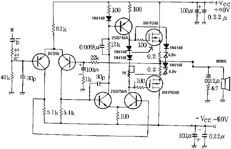 Mosfet Power Amplifier 100 Watt Schematic Diagram