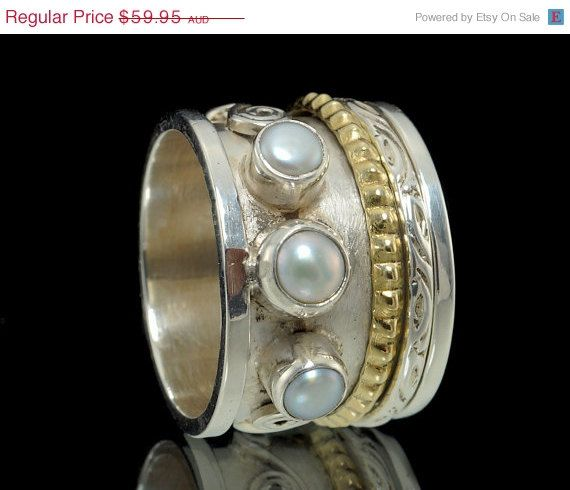ON SALE 925 Sterling Silver Brass & Pearl Oxidised by fabriika, $47.96