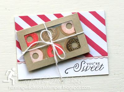 Donut Be Sad! ATC by #RunningwScissorsStamper, Stampin' Up Sprinkles on Top, You're Cherished, It's My Party DSP