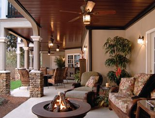 Great use of under deck space to create an outdoor room.