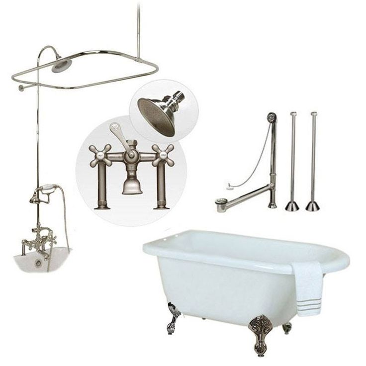 Randolph Morris 54 Inch Acrylic Clawfoot Tub and Shower