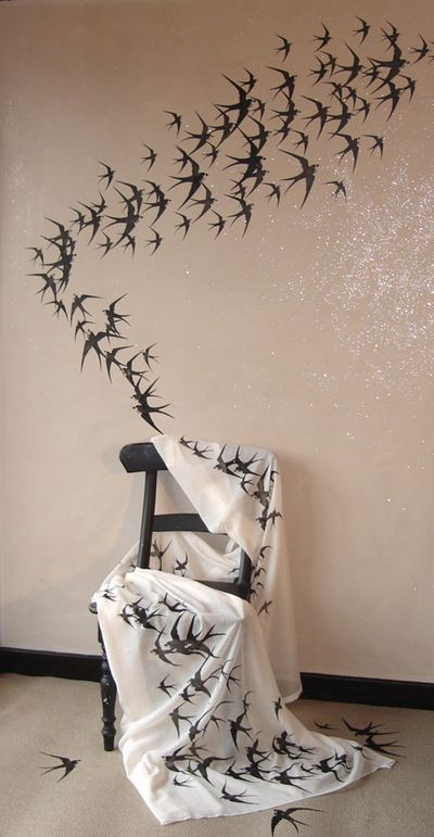 Decoration takes flight with stencils of birds - Design Inspiration. Planet Stencil Library.