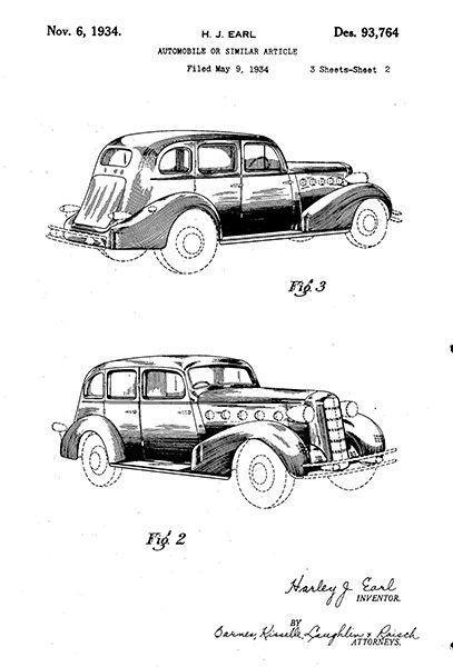 1934 - Automobile 2 - H. J. Earl - General Motors - Patent Art Poster #patentartposters