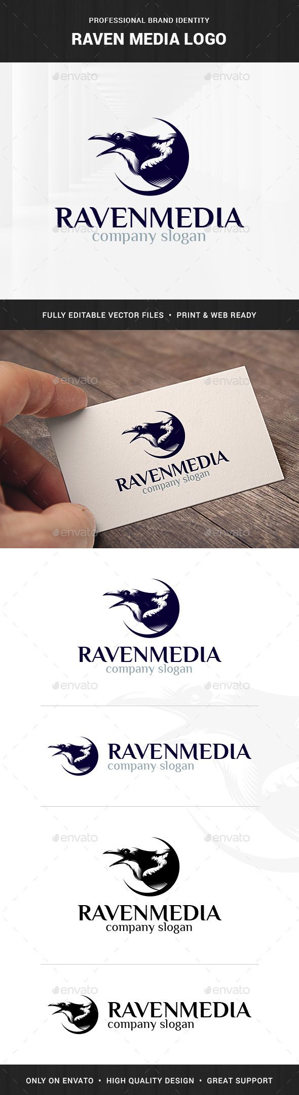 Raven Media Logo Template - Animals Logo Templates Download here : http://graphicriver.net/item/raven-media-logo-template/15741952?s_rank=162&ref=Al-fatih