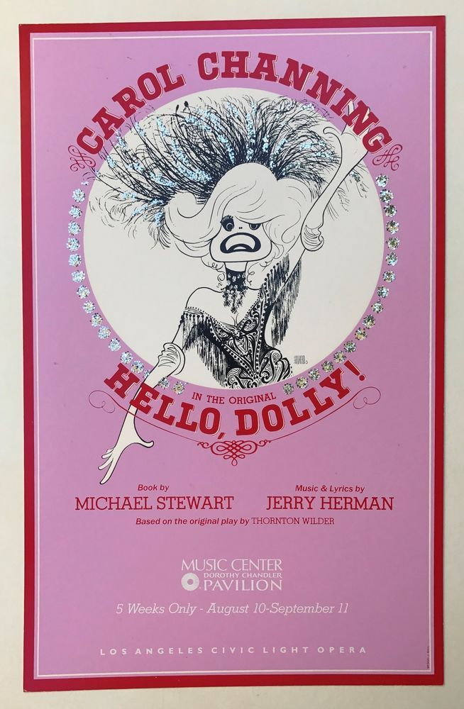 Carol Channing Hello Dolly! Window Card Dorothy Chandler Pavilion Los Angeles CA