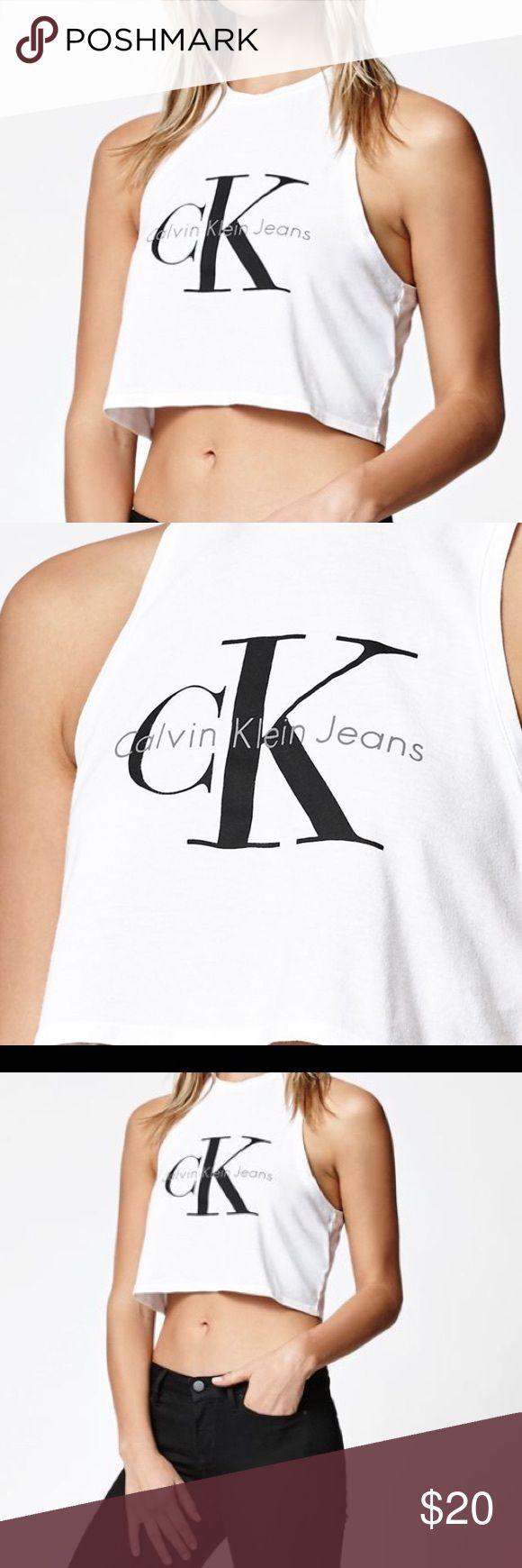 CK Calvin Klein Crop Top Never worn!!! Brand new!!! White ck crop top. M/l Calvin Klein Tops Crop Tops