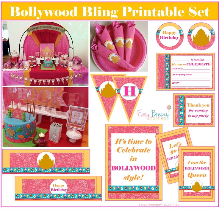 Transform your everyday space into a FILM-WORTHY BOLLYWOOD WONDERLAND, with this complete printable pack! https://www.etsy.com/listing/228240137/bollywood-bling-printable-party-pack?ref=shop_home_active_3 #bollywood #easybreezyparties