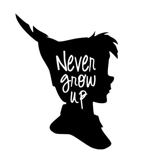 peter pan never grow up vinyl decal by gagagallery on etsy