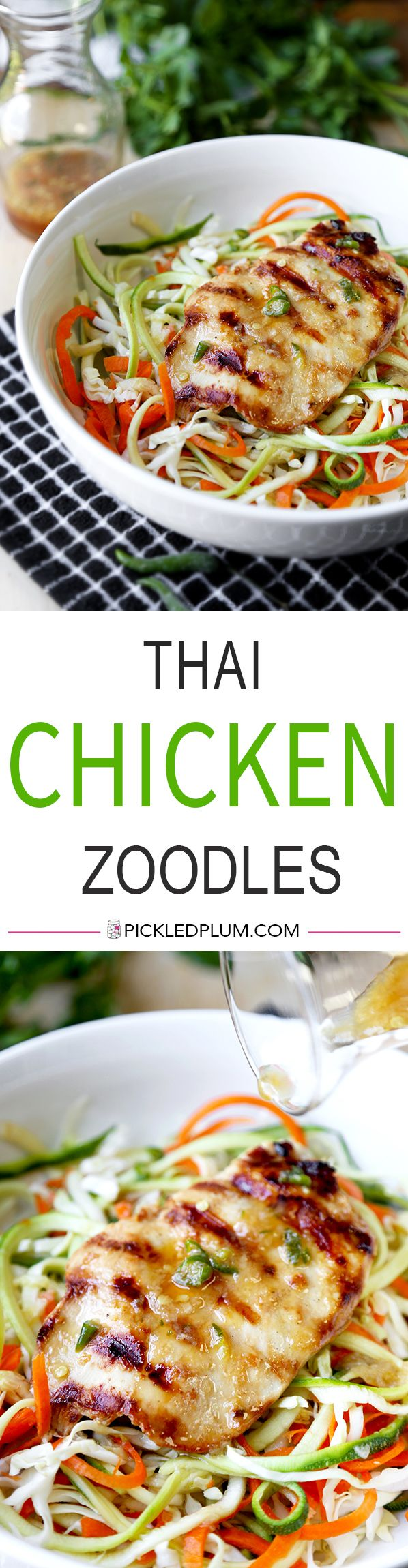 Thai Chicken Zoodles - A smoky, grilled Thai Chicken Zoodles Recipe that has lean protein, spiralized veggies and loads of flavor! This light, healthy recipe is ready in 23 minutes from start to finish. Recipe, healthy, salad, zoodles, gluten free, Asian chicken salad, dinner, lunch | pickledplum.com