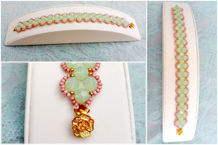 This lovely bracelet has been lovingly hand crafted by designer/maker Annalee Beer of EverAfter Artisanry.  A number of stunning mint green swarovski crystals are accented by gold and pink czech glass beads - finished with a gold coloured floral clasp.   This lovely piece is classic and feminine.
