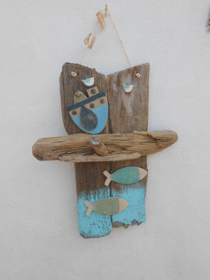 Driftwood art, coastal themed driftwood art with handmade fish and fishing boat, coastal decor, nautical theme by SkelligPotteryShop on Etsy