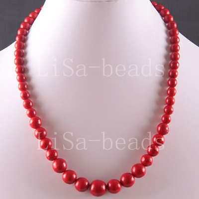 """Free Shipping Natural Stone Round Beads Red Turquoise Necklace 18"""" LE749"""