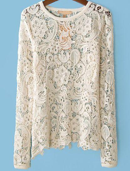 Camiseta encaje hueco manga larga-blanco 17.70
