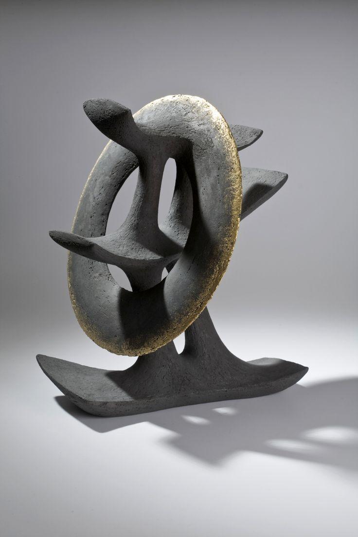 "István Holló: ""Gloria holder"" 2011. Handbuilt chamotte stoneware, tinsel. 36x36x42cm"