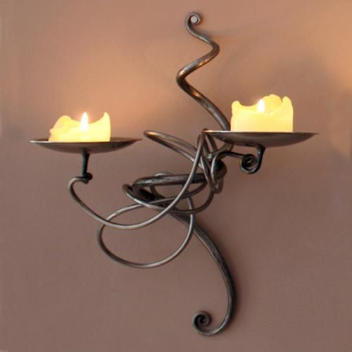 double tangle wall sconce by belltrees forge this wrought iron double wall mounted candle holder