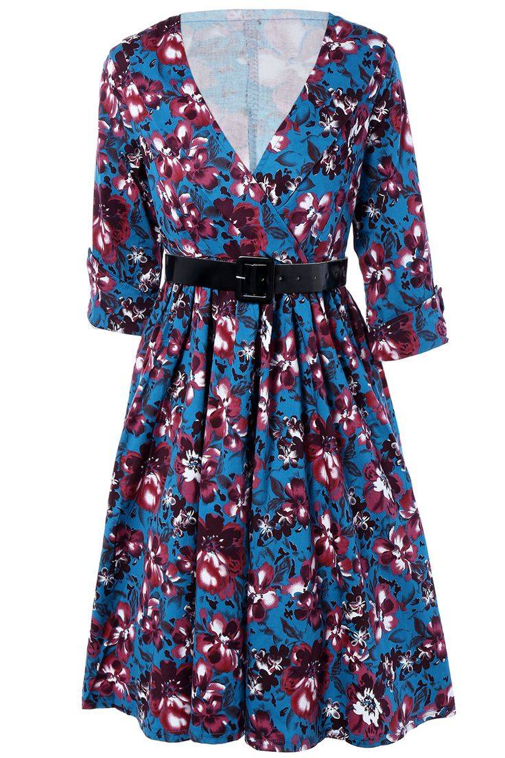 $23.56 Retro Style Cuffed Sleeve Belted Floral Dress For Women