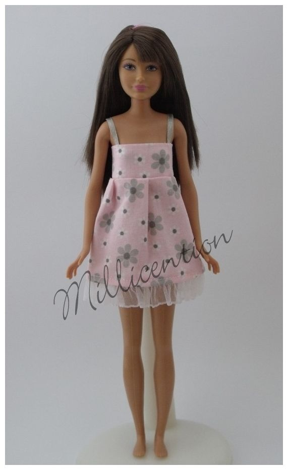 Pink and grey floral ruffled Skipper doll nightgown