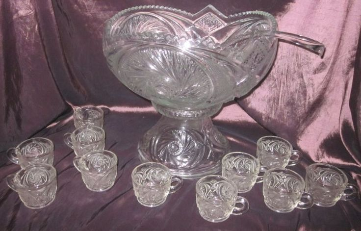 """EAPG 1-3/4 Gallon """"Aztec"""" Punch Bowl Set, 11 punch cups/Crystal Punch Ladle"""