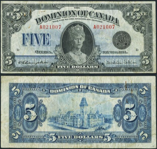Canada $5 1924 - This issue, featuring a formal portrait of Queen Mary, offers an interesting history. Although the plates were prepared in 1924, and the note is dated May 26th in honor of the Queen's birthday, there was so little need for Dominion $5 bills that printing for this issue did not commence until 1931.