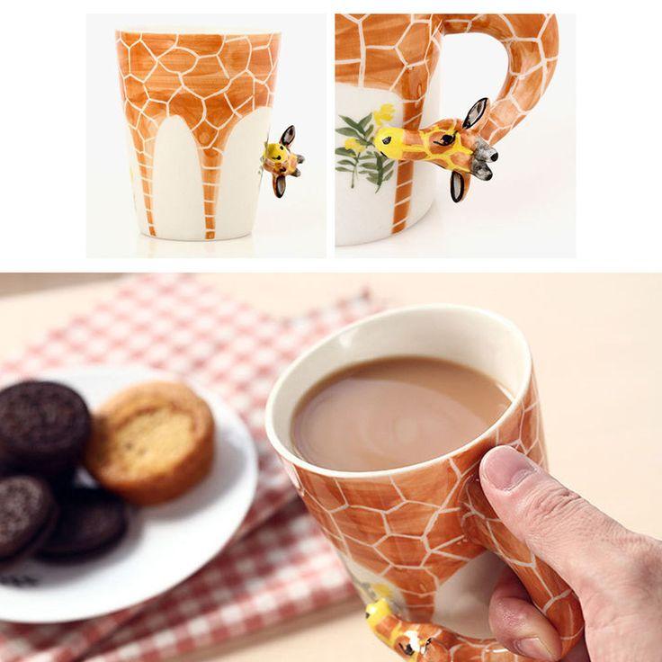3D Hand Painted Ceramic Coffee Milk Mug Cup Giraffe Style Home Decor Gift