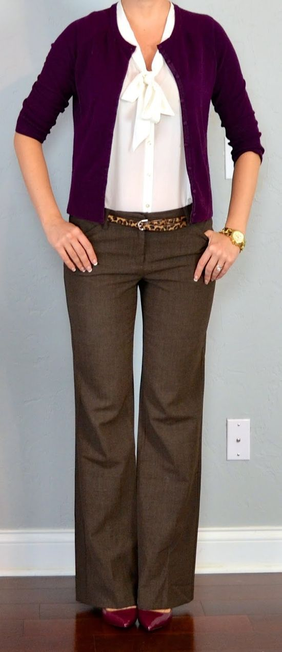 Her outfit is appropriate for teaching because she is wearing a top that is not revealing. Her jewelry is simple. Pants are not fitting super tight and they are boot cut. She is wearing a nice heel not really high, but just enough to give her a little height.