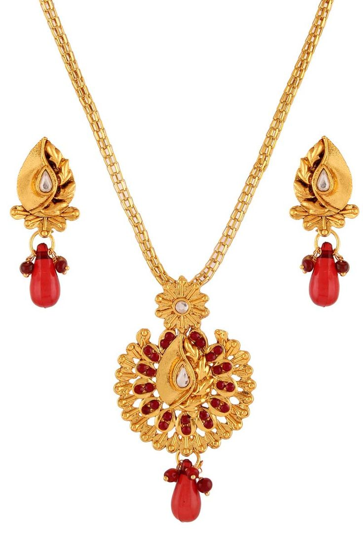Maroon stone studded gold plated floral design pendant set for women