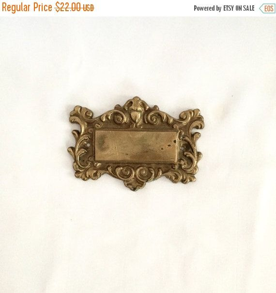 ON SALE BRASS Door  Plaque ornate solid brass wall plaque engraveable brass plaque by GlyndasVintageshop on Etsy