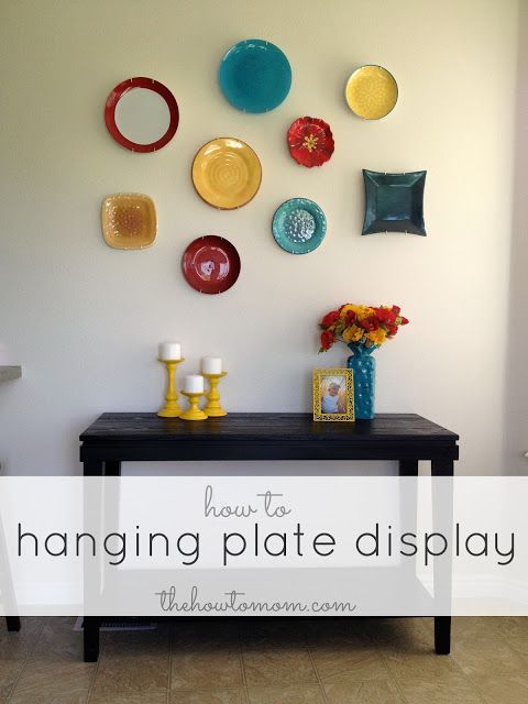 Unique and colorful hanging plate display, perfect for a nook or dining room! via The How To Mom