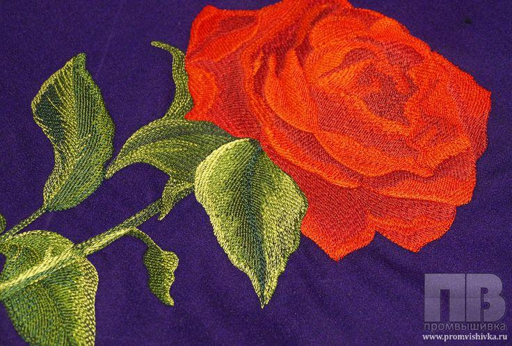 Машинная вышивка на ткани срочно розы